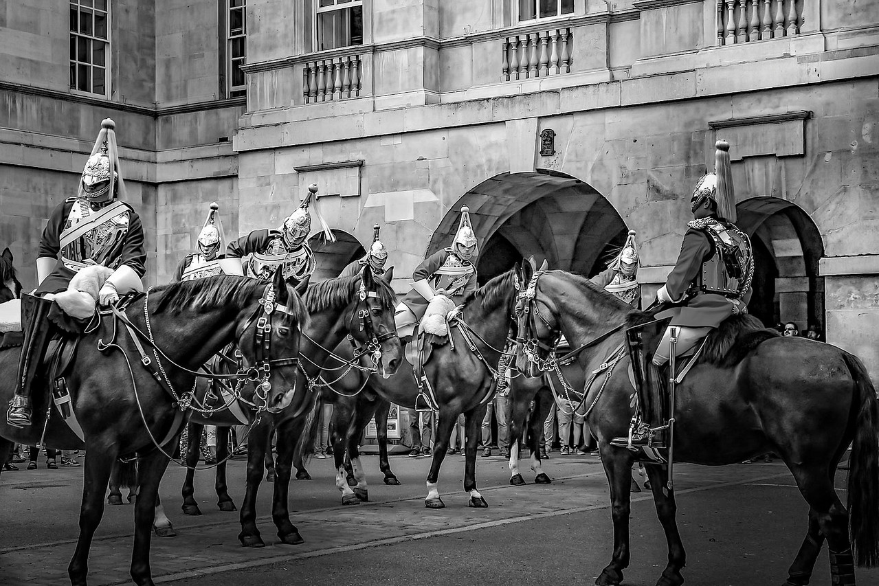 Queen Horse Guards at Downing Street London