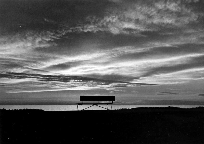 """CALIFORNIA SUNSET WITH BENCH<br /> Quite possiblly the very first photo I ever took that I really thought had potential. Later, as I became acquainted with the """"Rule of Thirds"""", I would wish I'd moved that bench over to the right a bit, but I still like the mood of it, anyway. So many memories."""