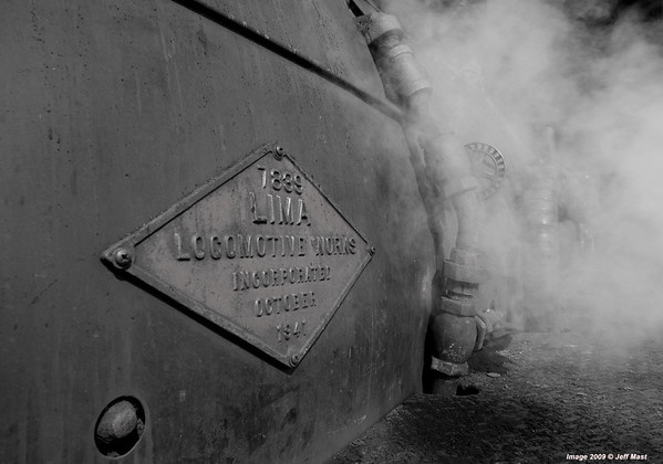 The builders plate from Lima locomotive works shows October 1941 just in time for WW II - here in May, 2009 she is being prepped for test runs following major work over the winter months.