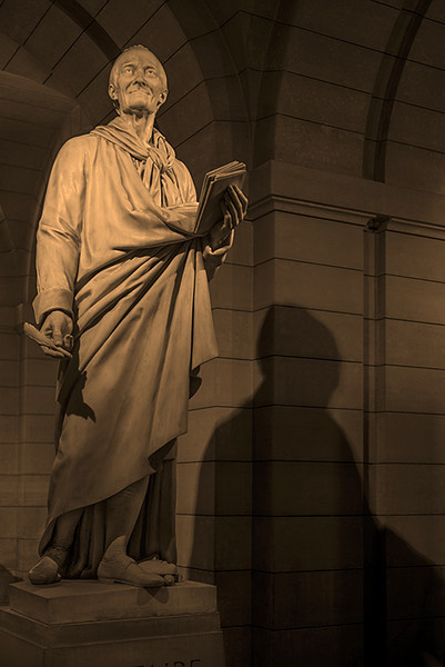 Statue of Voltaire in the Pantheon. Paris France