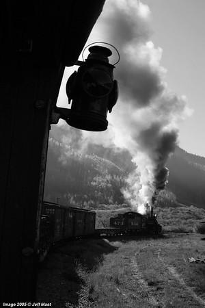 Rio Grande freight leaving Silverton, Colorado southbound in early morning