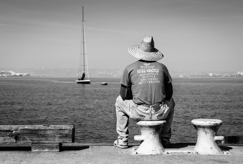 Daydream <br /> (candid)<br /> <br /> The sailboat pictured is the world-famous Stars and Stripes, Captained in 1987 by Dennis Connor to win back the America's Cup Trophy.<br /> It's an interesting story... if you're interested in such, Google it.