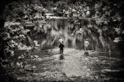 Fishermen in the Kokosing River in Mount Vernon, Ohio on Labor Day 2011.