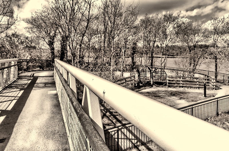 Bridge across Boyne River at Knowth visitor center<br /> edited in Lightroom 5 and Topaz B & W plug in.