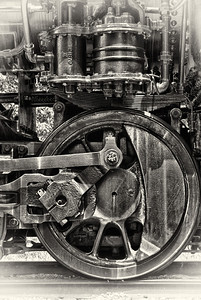 The wheel of the Locomotive No.63 in Gambier, Ohio along the Kokosing Gap Trail.