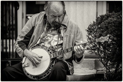 Banjo player at 2012 Dan Emmett Music and Arts Festival on South Main Street in Mount Vernon, Ohio. Shot on August 11, 2012.