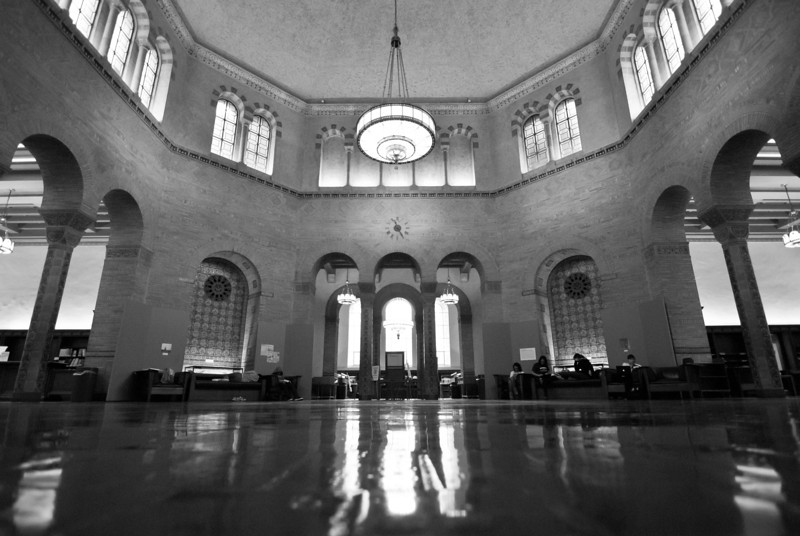 """<span id=""""date"""">_11/19/10_</span> <span id=""""title"""">Rotunda</span> Here's my first super wide angle daily, using the Tokina 11-16 I rented. I had promised another for yesterday, but I did my entry for <a href=""""http://dgrin.com/showthread.php?t=183504"""">DSS #64</a> instead. This is the rotunda in Powell Library at UCLA. It's pretty vast, so it's a good subject for an ultra wide lens. I shot a few other places on campus that I thought might benefit from this lens, but conditions were pretty bad. This is the last SLR daily photo for a week - tomorrow we fly to Hawaii! Thanks for all the well wishes. I'll try to keep posting daily photos via iPhone during the trip. Cheers!  <a href=""""http://www.jawsnap.net/Daily/year2/7157835_BfJPF#718573502_DvNZq"""">[last year]</a>"""