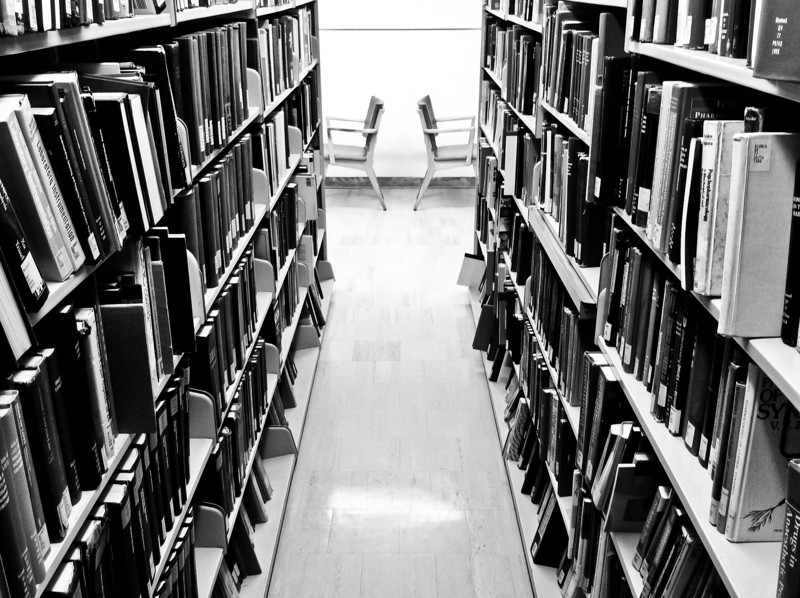"""<span id=""""date"""">_11/15/10_</span> <span id=""""title"""">Back to Back</span> Grabbed this shot in the library. I like the symmetry of the chairs with the messiness of the shelves. Most of the shelves are much more homogeneous than this one.  In other news, I decided to give away a calendar to some lucky fan of my <a href=""""http://www.facebook.com/pages/jawsnap-photography/329311657571"""">Facebook page</a>. Like it and you could be that lucky fan!  <a href=""""http://www.jawsnap.net/Daily/year2/7157835_BfJPF#714089340_CzeMo"""">[last year]</a> <em>Ain't she purty? ...</em>"""