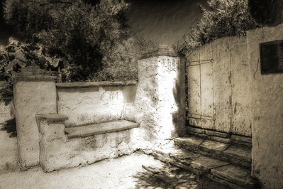 This adobe bench is located near the Mission San Juan Bautista, CA.