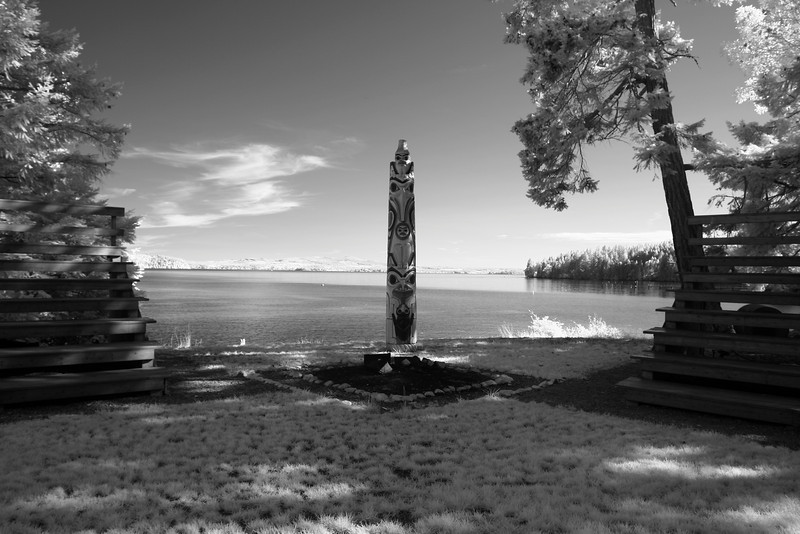 A lone totem pole in the open end of an ampitheatre with seating that is used for ceremonial activities at summer camp. In the background is the water of Puget Sound.