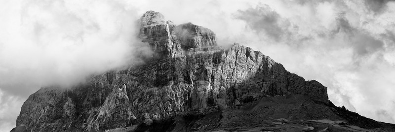 A high-resolution, panorama view of Big Chief Mountain in Glacier National Park in Montana stitched together from five separate photographs. Taken with a camera converted for infrared photography.