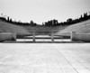 A view into the original Olympic Stadium in Athens. Built like a horseshoe, it's open at one end. (Scanned from black and white film.)