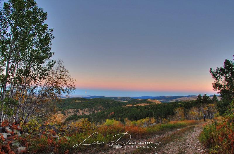 Bear Butte Moon from Mount Roosevelt<br /> October, 2012