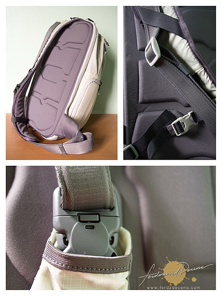 The molded back support, strap and buckle