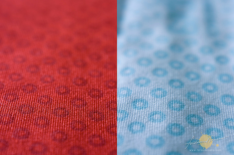 The blue rings on the Omni-Freeze Zero fabric are activated by sweat to cool down temperature