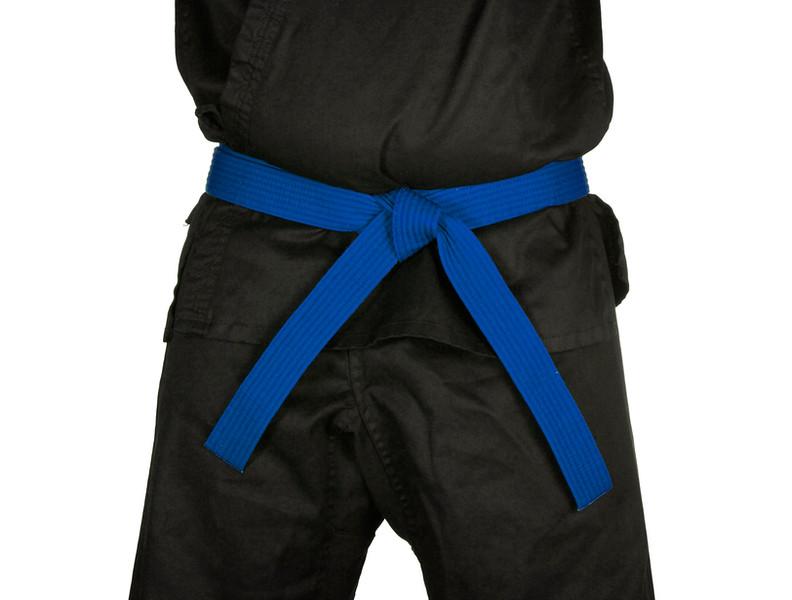 Karate Blue Belt Tied Around Torso Black Uniform