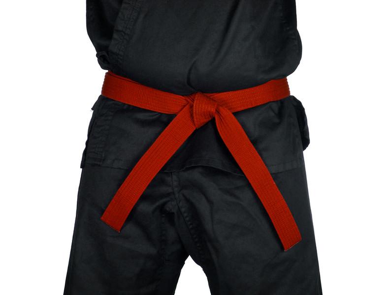 Karate Red Belt Tied Around Torso Black Uniform