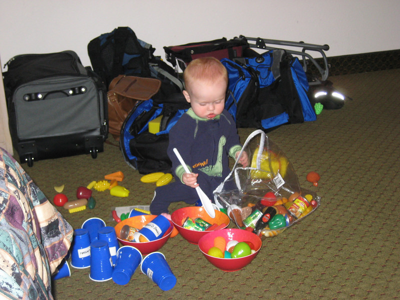 Ryan was right at home in Mammoth Mountain (Sierra Lodge) with a bag full of toys from home.  I think he was cooking our dinner that night.