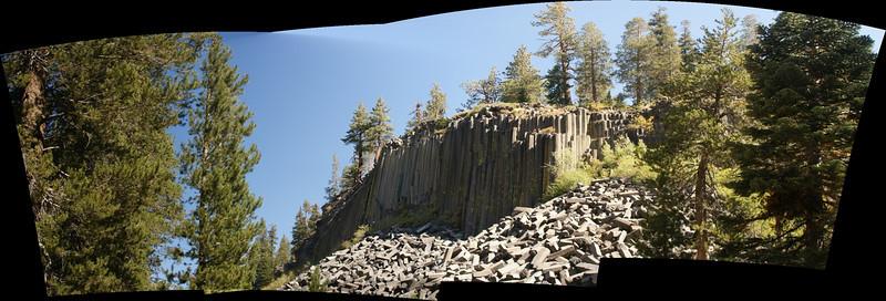 Panoramic of the Devil's Postpile.