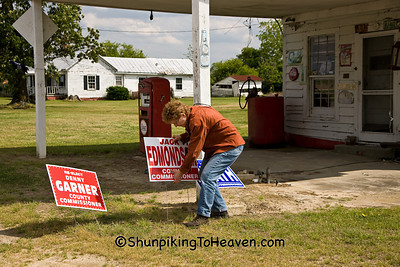 Joann Moving Political Signs at Red Lyon General Store, Greene County, North Carolina