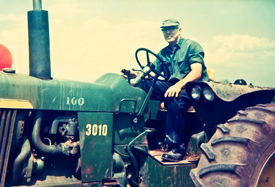Lawrence Ringelstetter on John Deere 3010 Tractor, 1969, Lake Mills, Wisconsin