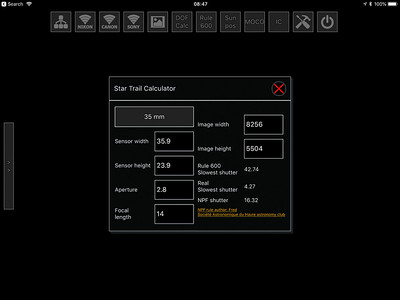 Star Trail Calculator in qDslrDashboard
