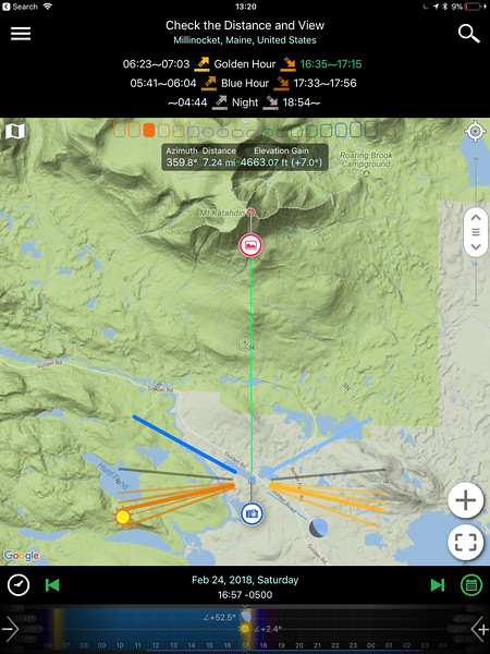 Special Hours page with the Google Terrain Map of PlanIt! Pro