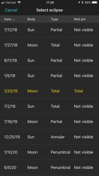 Eclipse list in PhotoPills