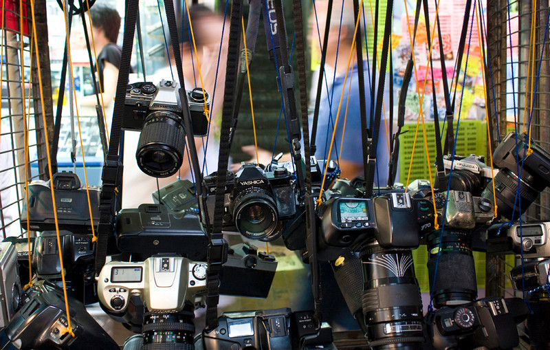 vintage second hand cameras for sale in a market stall in Sham Shui Po, Hong Kong