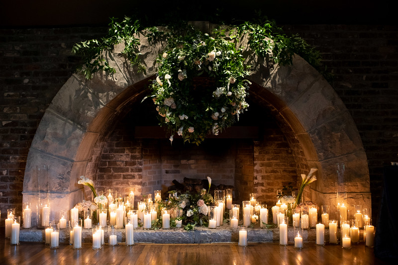 Romantic Candles in Fireplace