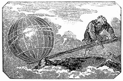 woodcut of man levering the earth