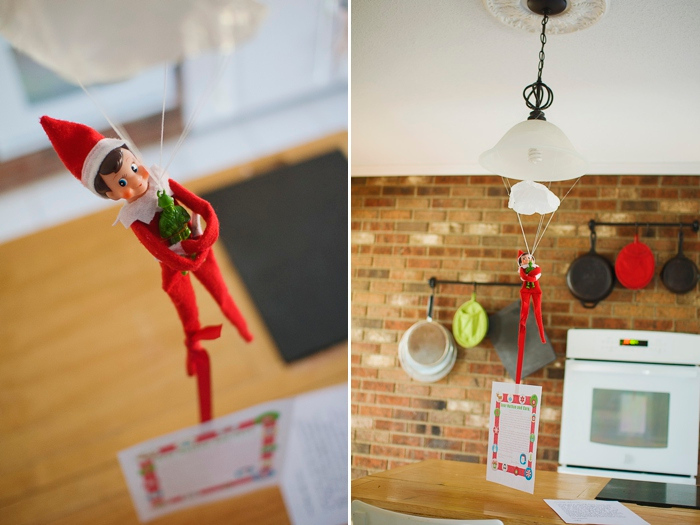 Elf parachutes to arrive, Elf on the Shelf ideas by Carey Pace