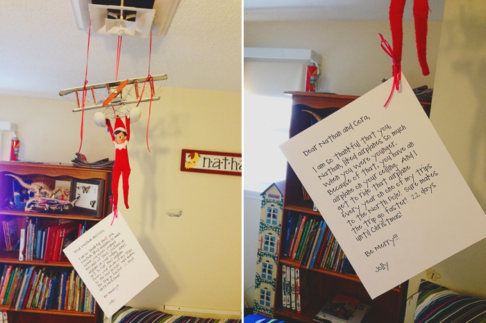 Elf hangs from airplane, Elf on the Shelf ideas by Carey Pace