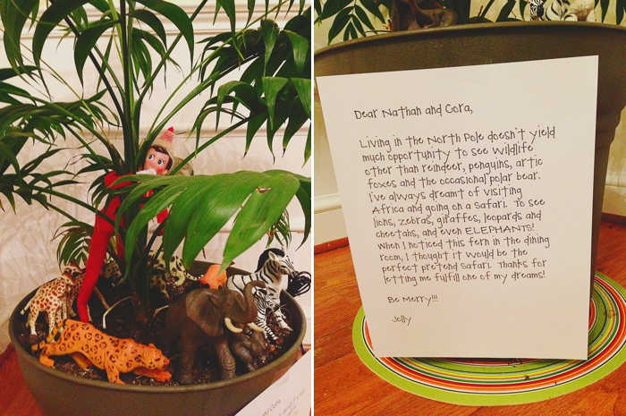 Elf safari in the potted plant.  Elf on the Shelf ideas by Carey Pace