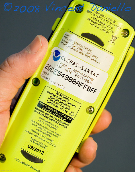 Photo by Vincent Daniello. Your life may depend upon a working EPIRB or PLB, so don't rely on weak batteries an out-of-date registration. This ACR ResQFix Personal Locator Beacon's registration expires on April 25, 2009, and the battery must be replaced by September, 2012.