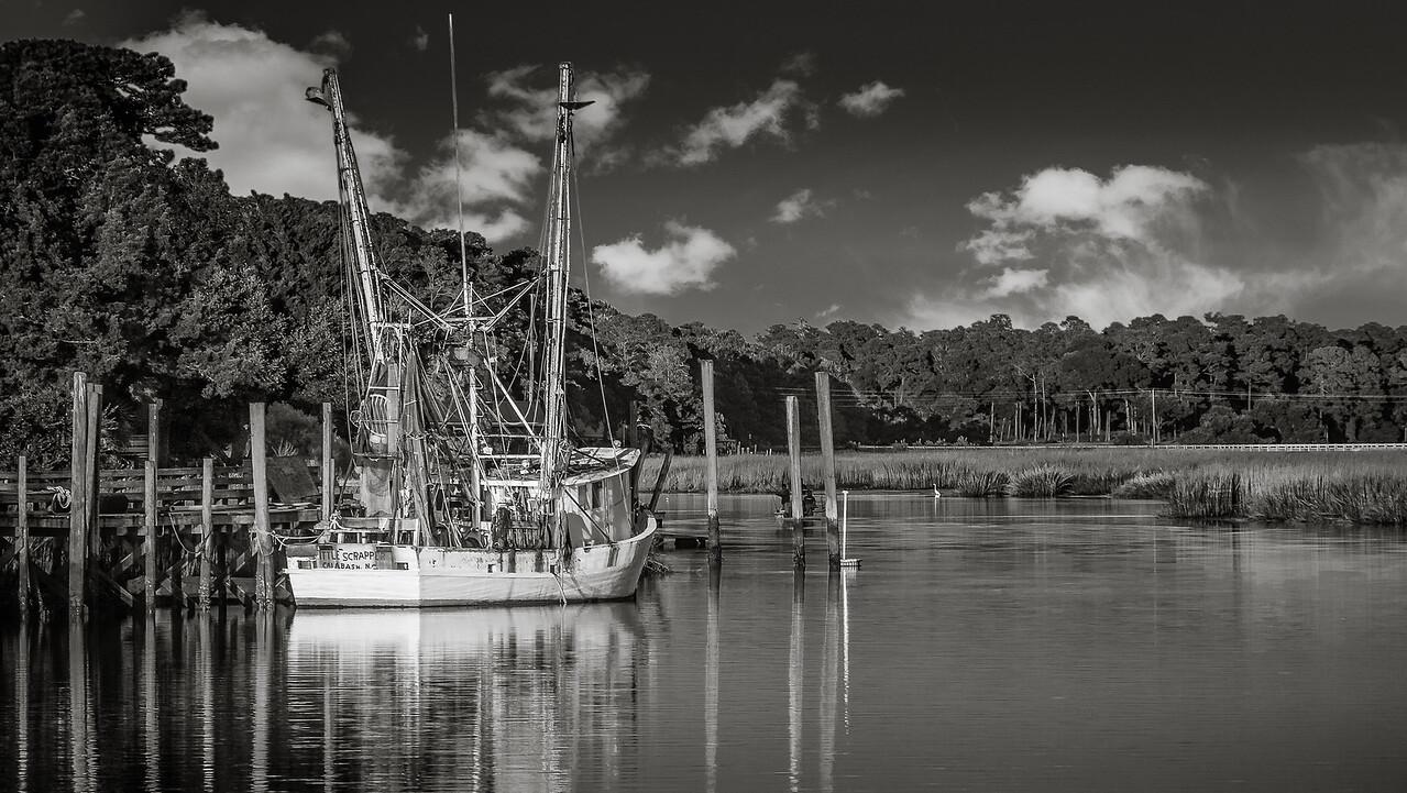 Calabash fishing trawler in black and white.
