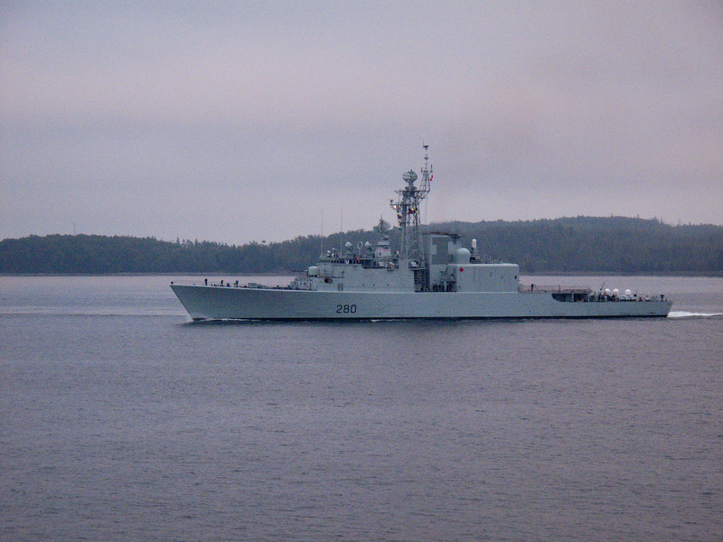 Canadian Destroyer leaving returning to port in Halifax, Nova Scotia.