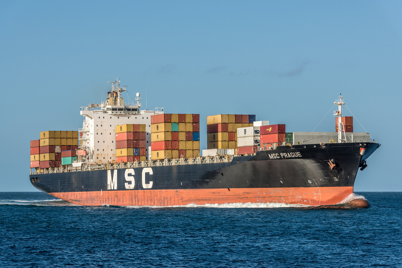 Cargo ship MSC Prague approaches Aramoana mole.