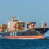 Cargo ship MSC Prague approaches Aramoana mole. Cruiseship Diamond Princess behind