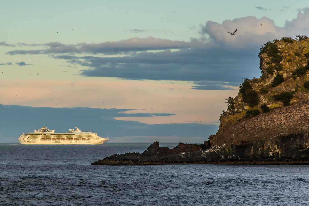 The cruiseship 'Dawn Princess' leaves Otago Harbour