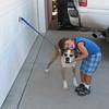 Spencer loving his dog.
