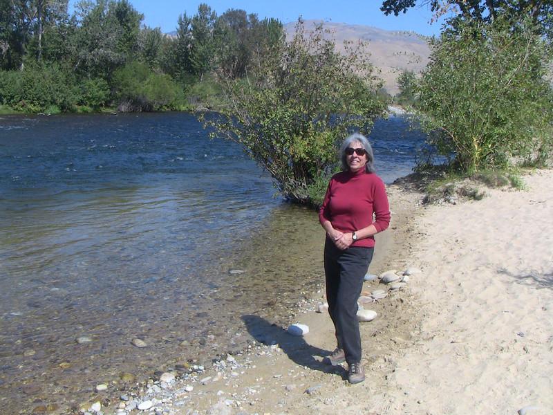 Sasha alongside the Boise River