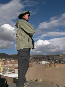 Shane contemplates the view from the top of a church in Potosi.