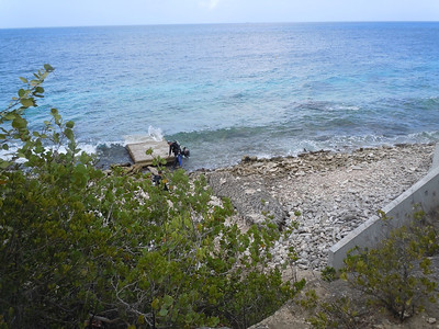 Typical shore entry.  This one at a site called Karpata.  Pretty heavy wave action the day that Alex and I dived this one, but the concrete slab helped to stabilize and buffer you as you work your way in.