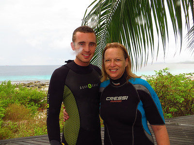 Alex got his certification last time that we were in Bonaire.  He's an old pro now.