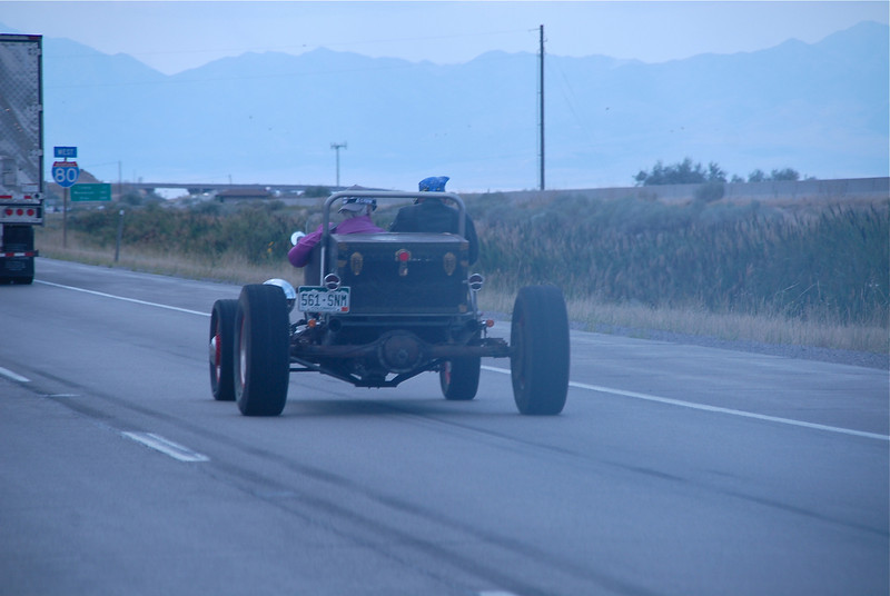 On I-80 West, passing a roadster