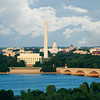 The Washington, DC skyline showing the Potomac River, Memorial Bridge, US Capitol, Washington Monument and Lincoln Memorial.