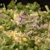 cooking broccoli, corn, scallions