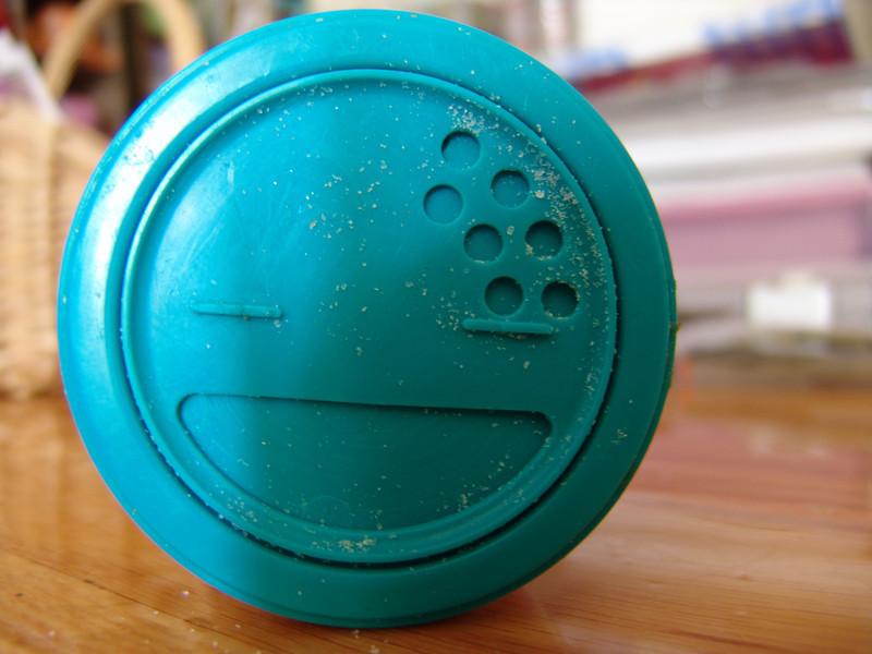blue-green salt container lid