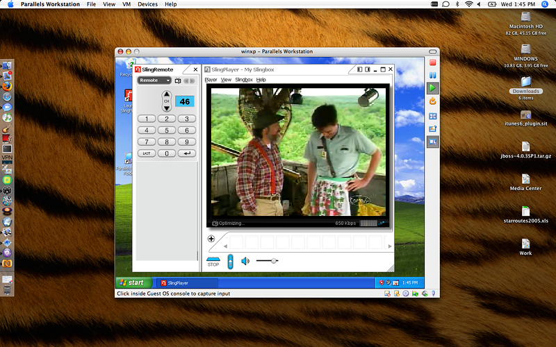 SlingPlayer playing on Windows inside of Parallels Workstation on a MacBook Pro